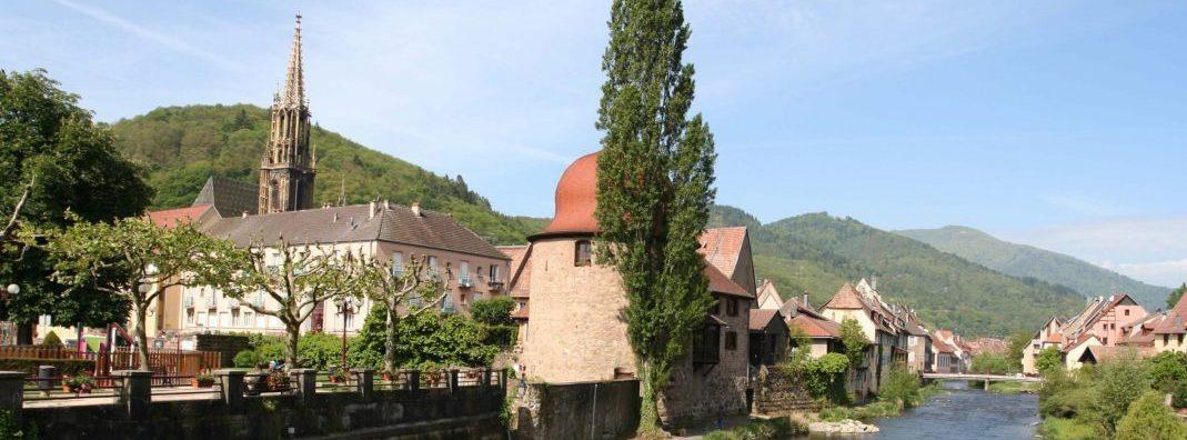 Thann-photo paysage Thur et Tour des Cigognes