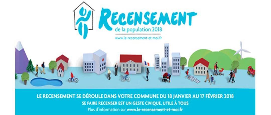 Affiche du recensement 2018 representant un ville en dessin